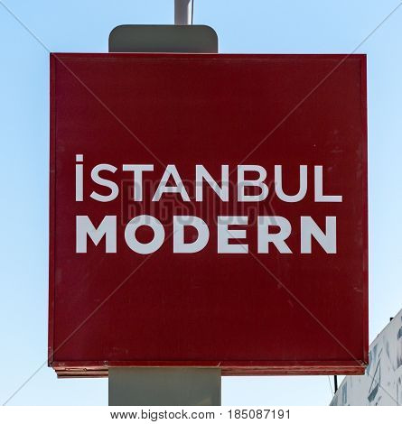 istanbul, Turkey - April 29, 2017: Sign of Istanbul modern - Istanbul museum of modern art