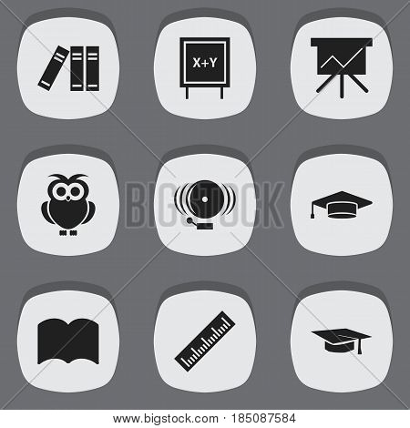 Set Of 9 Editable School Icons. Includes Symbols Such As Blackboard, Ring, Night Fowl And More. Can Be Used For Web, Mobile, UI And Infographic Design.