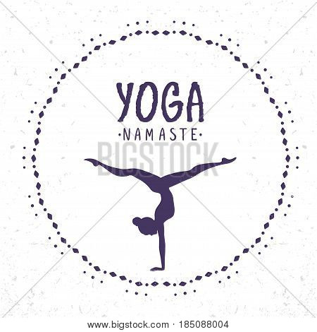 Amazing silhouette woman practicing yoga with sample text. Handstand. Vector illustration
