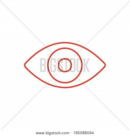 Flat line eye icon isolated on white background. Minimal eye icon for use in variety of projects. Red vector eye icon for web sites and apps.
