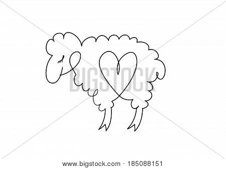 Cute funny illustration hand-drawn characters. Vector drawing . Lamb with the heart inside.
