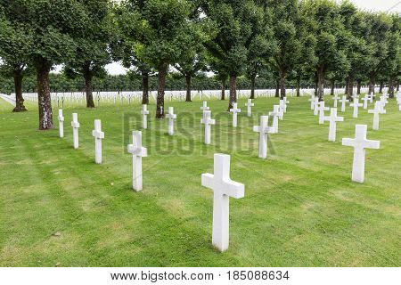 VERDUN FRANCE - AUGUST 19 2016: American cemetery near Romagne-sous-Faucon for First World War One soldiers who died at Battle of Verdun