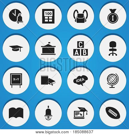 Set Of 16 Editable School Icons. Includes Symbols Such As Distance Learning, School Bell, Alarm Bell And More. Can Be Used For Web, Mobile, UI And Infographic Design.