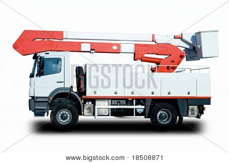 Bucket Truck to repair electrical lines after a hurricane