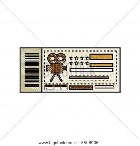 cinema ticket icon over white background. colorful design. vector illustration