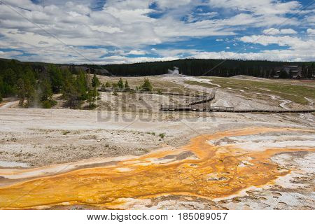 Yellowstone National Park. Wyoming. USA. Geysers. Hot Springs.