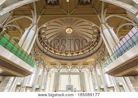 PUTRAJAYA, MALAYSIA - AUGUST 15, 2016: Dome inside Tuanku Mizan Zainal Abidin Mosque. Also known as Iron Mosque the Mizan mosque is the second principal mosque in Putrajaya