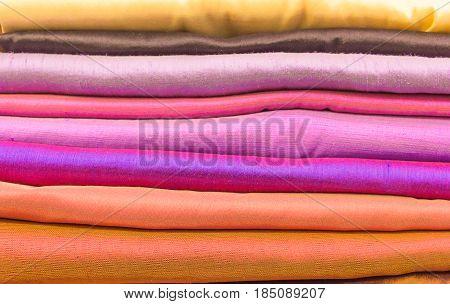 A collection of Thai silk Thai silk.