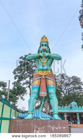 KUALA LUMPUR, MALAYSIA - AUGUST 14, 2016: A Hanuman statue is a Hindu god which is located beside of the Batu Caves is entrance in Kuala Lumpur Malaysia.