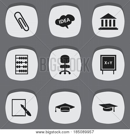 Set Of 9 Editable University Icons. Includes Symbols Such As Blackboard, Mind, Staple And More. Can Be Used For Web, Mobile, UI And Infographic Design.