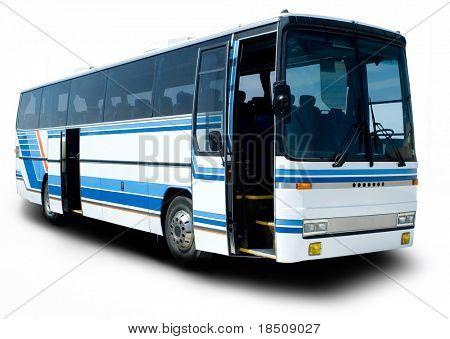 Blue stripe tour bus with doors open