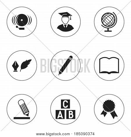 Set Of 9 Editable Education Icons. Includes Symbols Such As Pencil, Earth Planet, Diplomaed Male And More. Can Be Used For Web, Mobile, UI And Infographic Design.