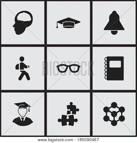 Set Of 9 Editable Education Icons. Includes Symbols Such As Graduate, Copybook, Disciple And More. Can Be Used For Web, Mobile, UI And Infographic Design.