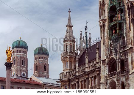 Towers Frauenkirche and the famous column of St. Mary on Marienplatz. Munich. Bavaria. Germany.