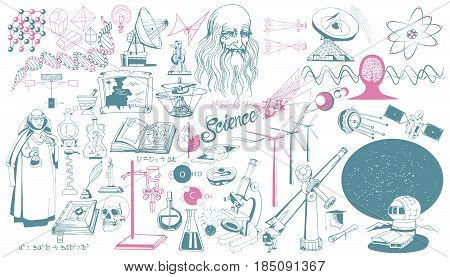 Hand drawn scientific icons collection with chemistry math astronomy biology sciences and magic elements isolated vector illustration
