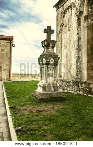 Tombstone a cross on the grave patron and philanthropist monastery Gandzasar