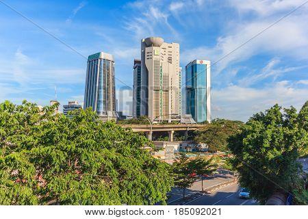 KUALA LUMPUR, MALAYSIA - AUGUST 14, 2016: View of Wisma Tun Sambanthan and Takaful Malaysia along Jalan Sultan Sulaiman Kuala lumpur Malaysia.
