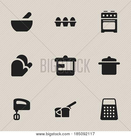 Set Of 9 Editable Food Icons. Includes Symbols Such As Soup, Agitator, Shredder And More. Can Be Used For Web, Mobile, UI And Infographic Design.