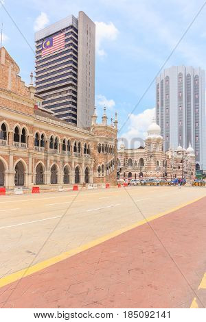 KUALA LUMPUR, MALAYSIA - AUGUST 14, 2016: The Sultan Abdul Samad building old post office and national textiles museum on August 14 2016 in Kuala Lumpur Malaysia.
