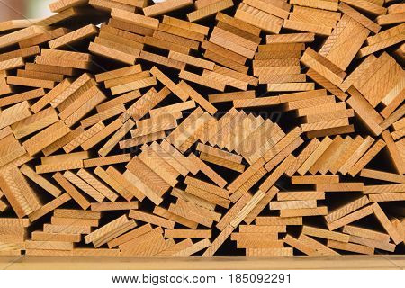 stack of cut wooden bars pattern background