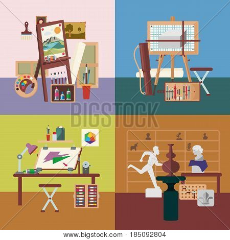 Art studio interiors square concept with professional painting graphic design and sculpture equipment vector illustration