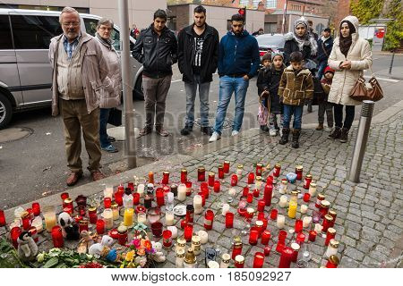 BERLIN - OCTOBER 30 2015: Centre for the reception and registration of refugees - LaGeSo. Grave lights for the dead child Muhammad from the family of refugees from Bosnia.