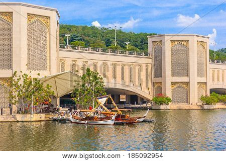 PUTRAJAYA, MALAYSIA - AUGUST 15, 2016: Traditional Boats