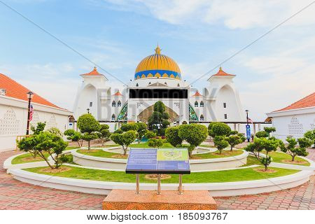 MALACCA, MALAYSIA - AUGUST 12, 2016: Melaka Strait Mosque (Masjid Selat) Malacca Malaysia taken during blue sky