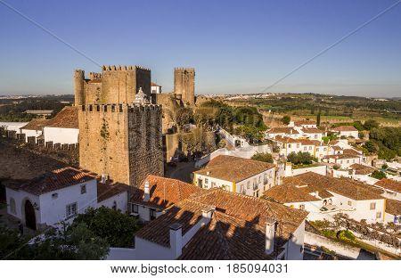 OBIDOS PORTUGAL - APRIL 03 2017: Cityscape of Obidos Portugal.