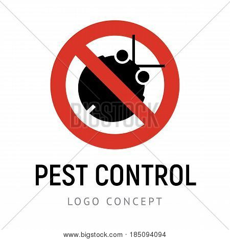 Prohibition sign with black bug silhouette. Pest control, exterminators company vector logo template. Simple geometric icon with place for text on white background.