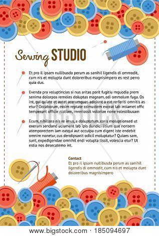 Sewing studio poster template with lot of buttons at background. Cartoon frame with sewing items and place for text. Size A4.