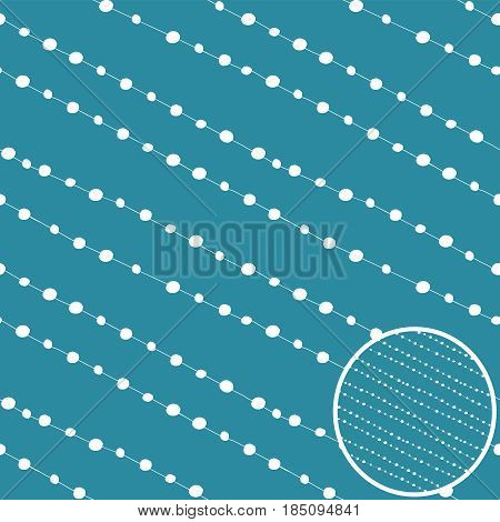 Dots vector seamless background. White on blue