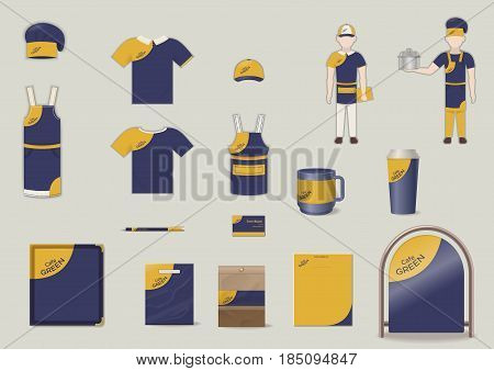 Corporate and brand identity elements set with clothes staff tray package pen card cups signboard isolated vector illustration