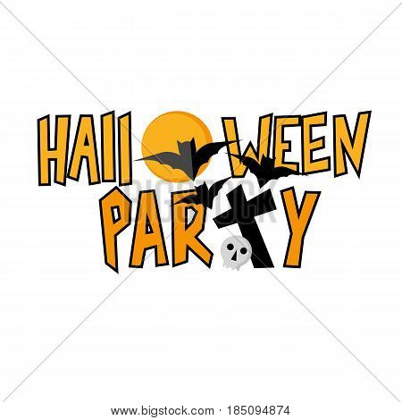 Halloween party lettering with traditional horror elements - bats, moon, grave and skull. Simple style vector clip art in black and orange.
