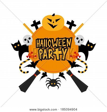 Halloween party sign with traditional elements: pumpkin, bats, cats, spider, witches hat and brooms. With text 'Halloween Party' in the center. Simple geometric style clip art on white background.