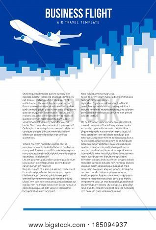 Poster vector template with plane taking off and city skyline. Banner for air travel, delivery or logistic company. Flat style illustration with place for title, slogan and text. Size A4.
