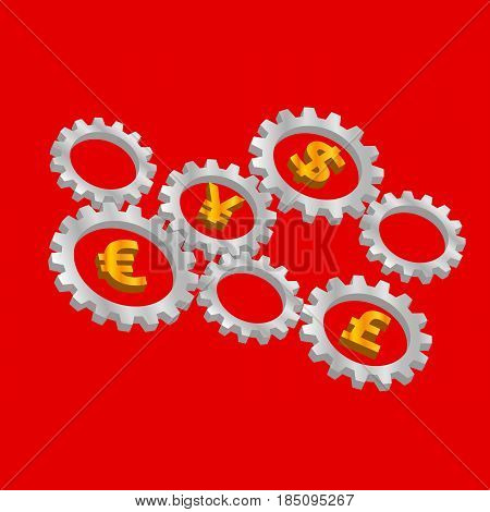 Rotating 3D gears with currency symbols inside - dollar, euro, pound and yen. International finance system concept. Mechanism with money signs on red background. Simple vector clip art.