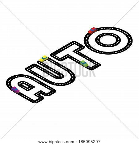Black asphalt road in the form of word 'Auto' on white background. With red toy automobiles on it. Logo concept for car shop. Lettering for service center. Isometric 3d vector clip art.