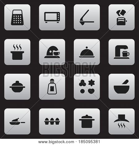 Set Of 16 Editable Cooking Icons. Includes Symbols Such As Saltshaker, Kitchen Hood, Soup Pot And More. Can Be Used For Web, Mobile, UI And Infographic Design.