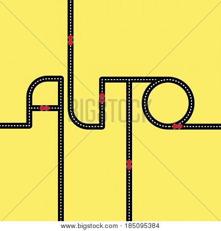 Black asphalt road in the form of word 'Auto' on yellow background. With red toy automobiles on it. Logo concept for car shop. Lettering for service center. Simple vector clip art.