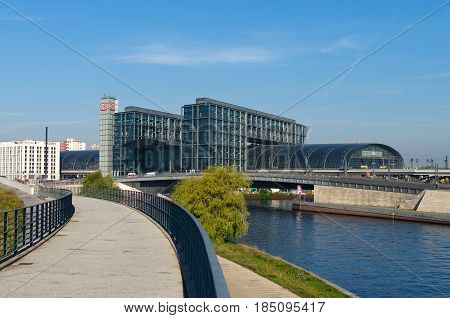 BERLIN - SEPTEMBER 23: The central railway station Hauptbahnhof on September 23 2010 in Berlin Germany