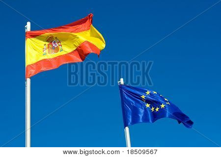 Flag of Spain and EU poster