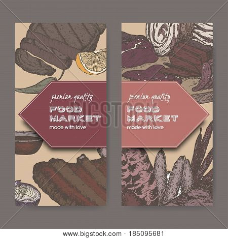 Two color food market labels with meat delicacies based on hand drawn sketches of cold meats, sausages, grilled and ribs. Great for market, restaurant, grill cafe, food label design.