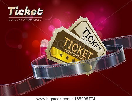 ticket cinema movie theater object on bokeh background vector illustration