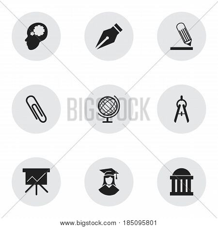 Set Of 9 Editable Graduation Icons. Includes Symbols Such As Nib, Earth Planet, Chart Board And More. Can Be Used For Web, Mobile, UI And Infographic Design.