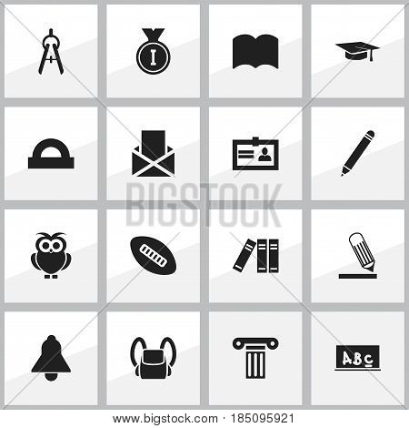 Set Of 16 Editable Science Icons. Includes Symbols Such As Dictionary, Semicircle Ruler, Bell And More. Can Be Used For Web, Mobile, UI And Infographic Design.
