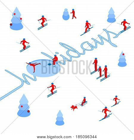 Skier has left a trace in the form of word 'Holidays'. With lot of people skiing around. Athlete write letters on the snow - vector image clip art. Isometric 3D logo concept on white background.