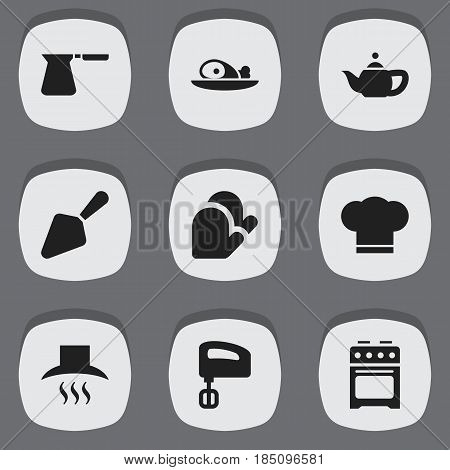 Set Of 9 Editable Food Icons. Includes Symbols Such As Kitchen Glove, Food Shovel, Cook Cap And More. Can Be Used For Web, Mobile, UI And Infographic Design.