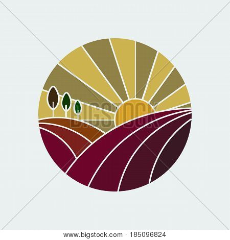 Vineyard round icon in gold and burgundy colors