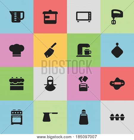 Set Of 16 Editable Cooking Icons. Includes Symbols Such As Agitator, Utensil, Slice Bread And More. Can Be Used For Web, Mobile, UI And Infographic Design.